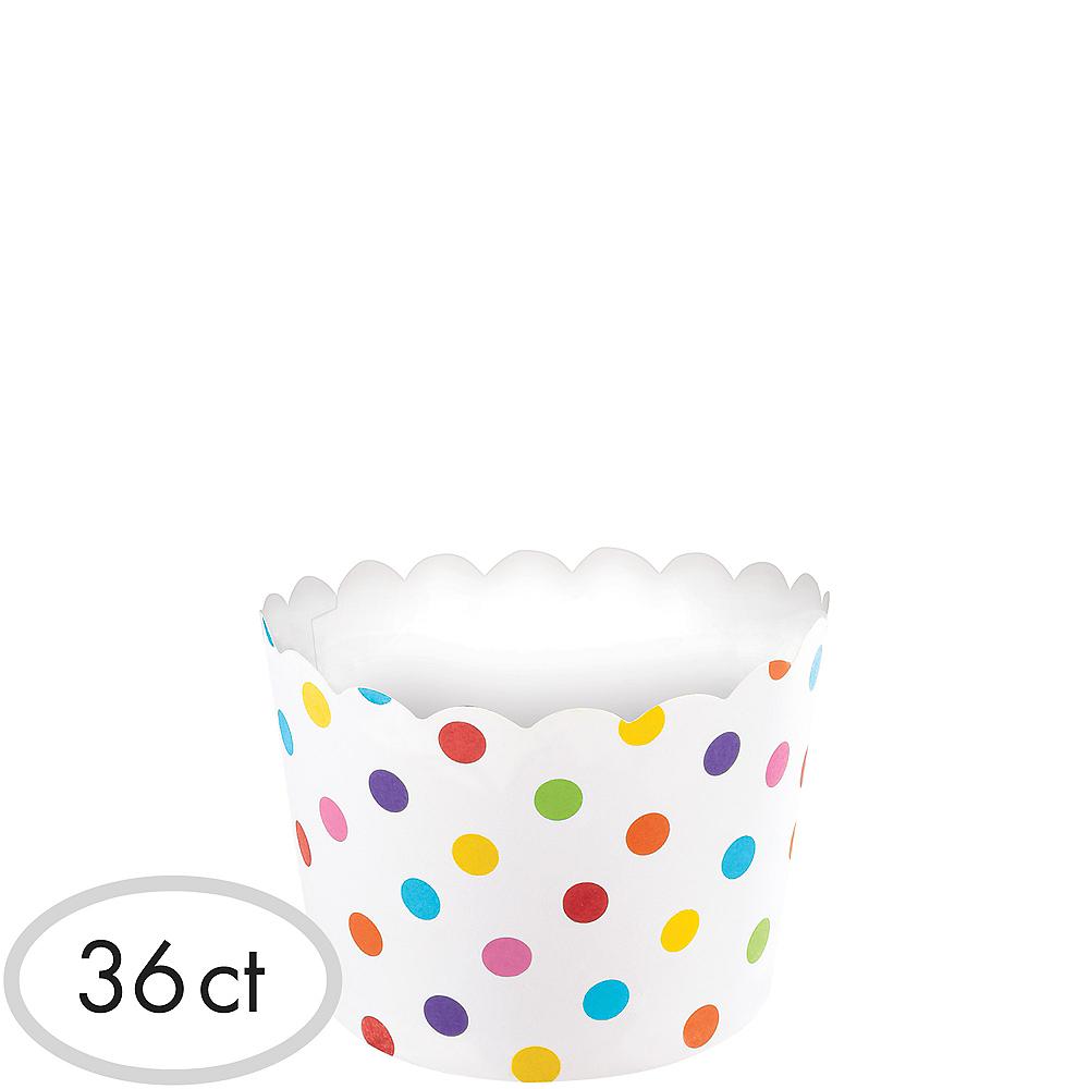 Mini Bright Rainbow Polka Dot Scalloped Bowls 36ct Image #1