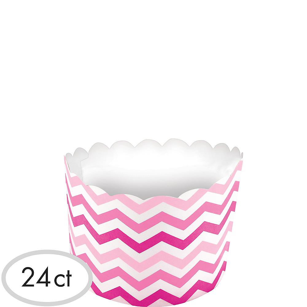Pink Chevron Scalloped Bowls 24ct Image #1