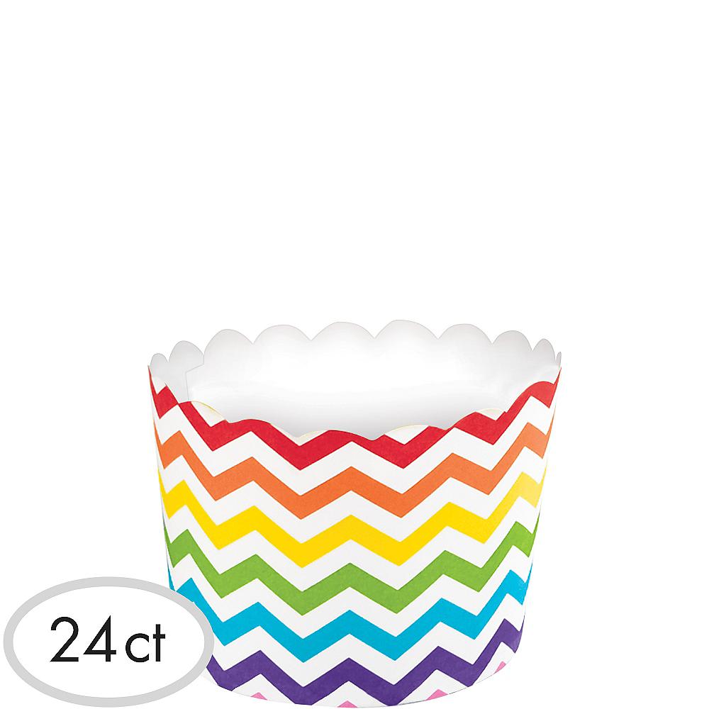 Bright Rainbow Chevron Scalloped Bowls 24ct Image #1