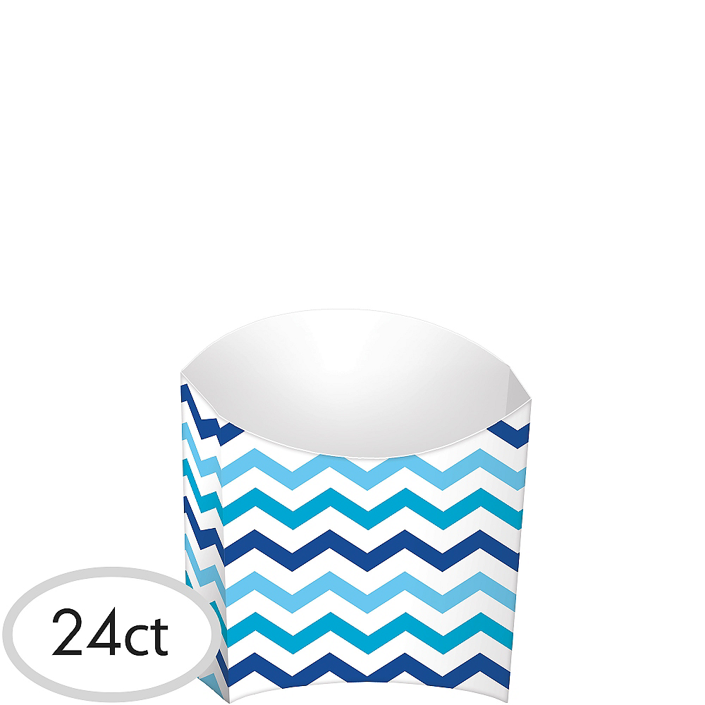 Blue Chevron French Fry Boxes 24ct Image #1