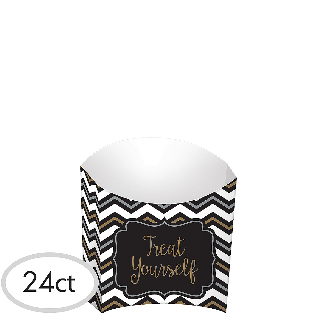 Black, Gold & Silver Chevron French Fry Boxes 24ct Image #1