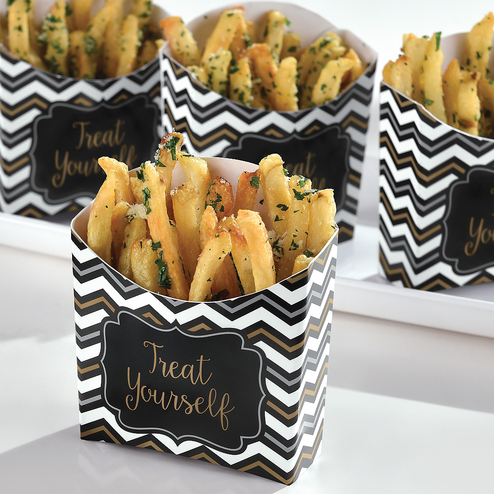 Black, Gold & Silver Chevron French Fry Boxes 24ct Image #2