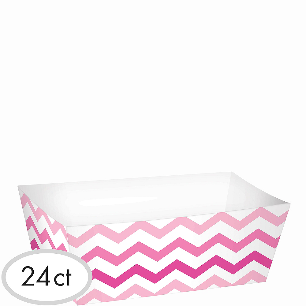 Pink Chevron Paper Food Trays 24ct Image #1