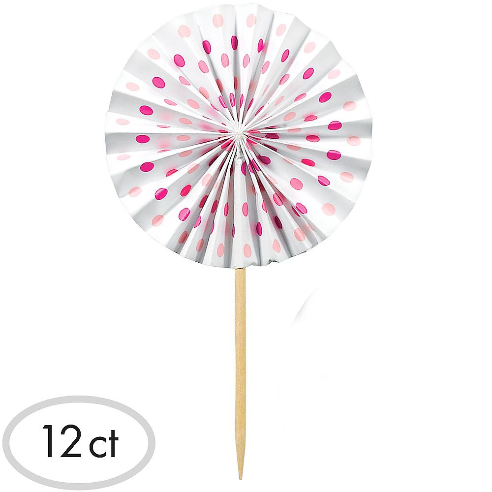 Pink Fan Party Picks 12ct Image #1