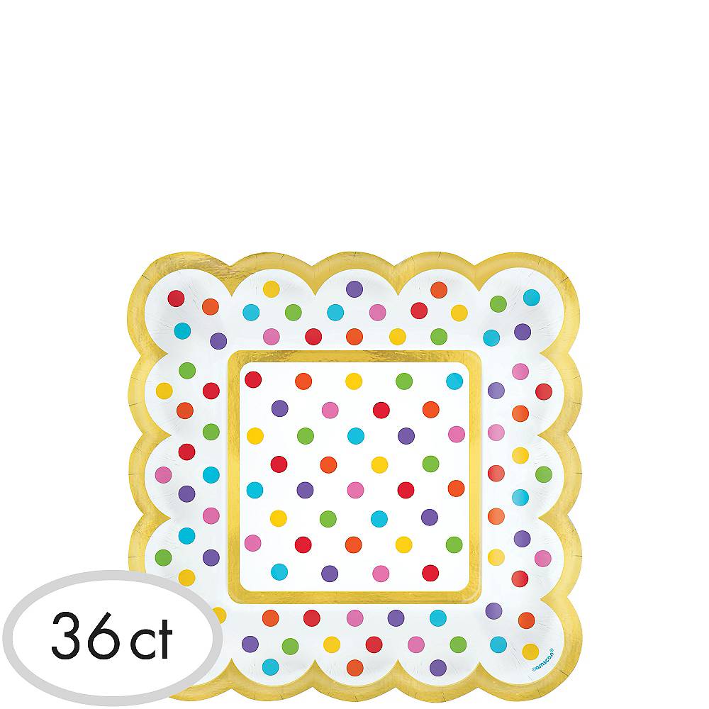 Bright Rainbow Polka Dot Scalloped Appetizer Plates 36ct Image #1