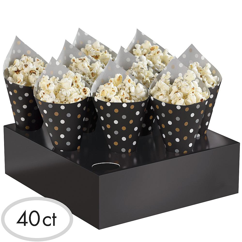 Black Gold Silver Polka Dot Snack Cone Kit 40ct Party City