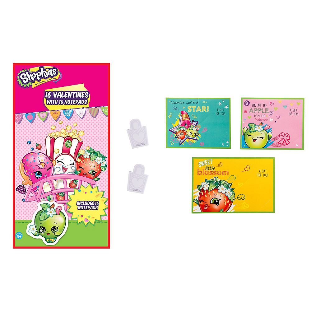 Shopkins Valentine Exchange Cards with Notepads 16ct Image #1