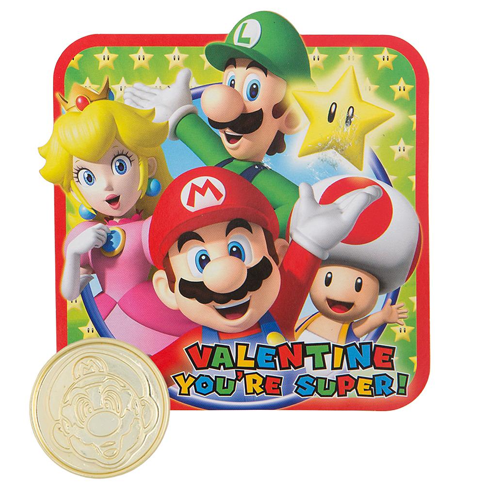 Super Mario Valentine Exchange Cards with Coins 12ct Image #1