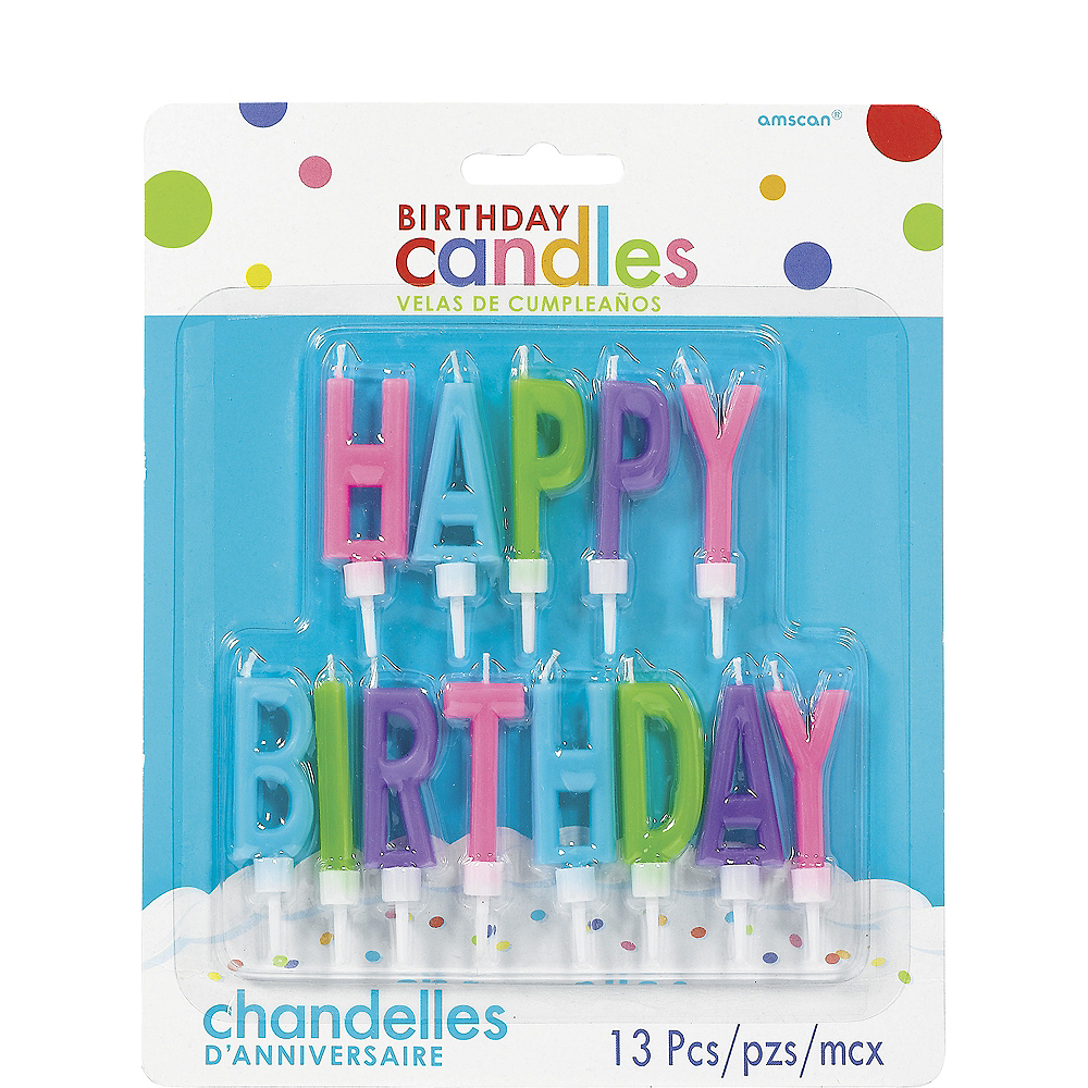 Multicolor Bright Happy Birthday Toothpick Candle Set 13pc Image #1