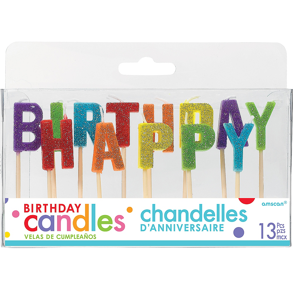 Glitter Rainbow Happy Birthday Toothpick Candle Set 13pc Image #1