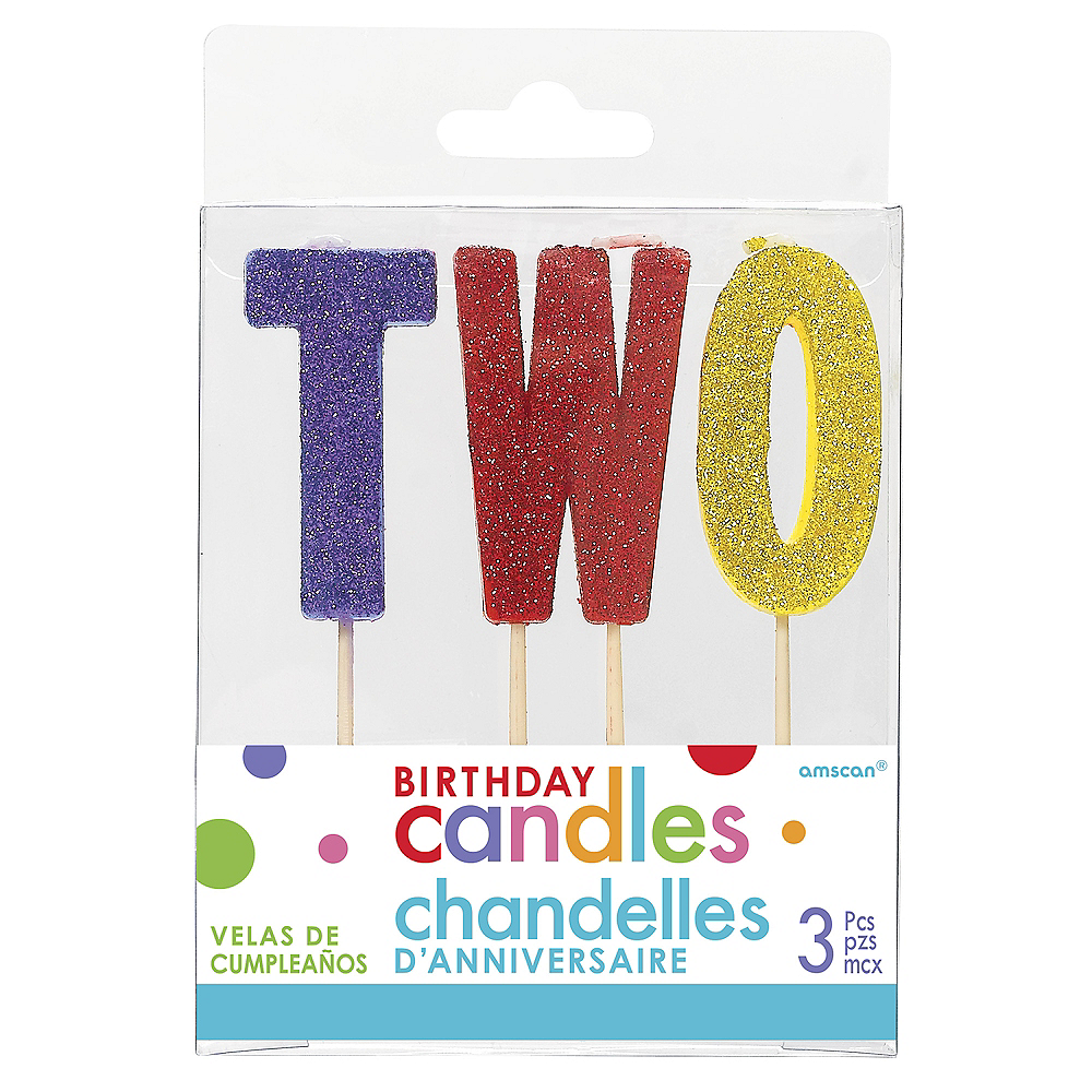 Glitter Multicolor Two Birthday Toothpick Candle Set 3pc Image #1