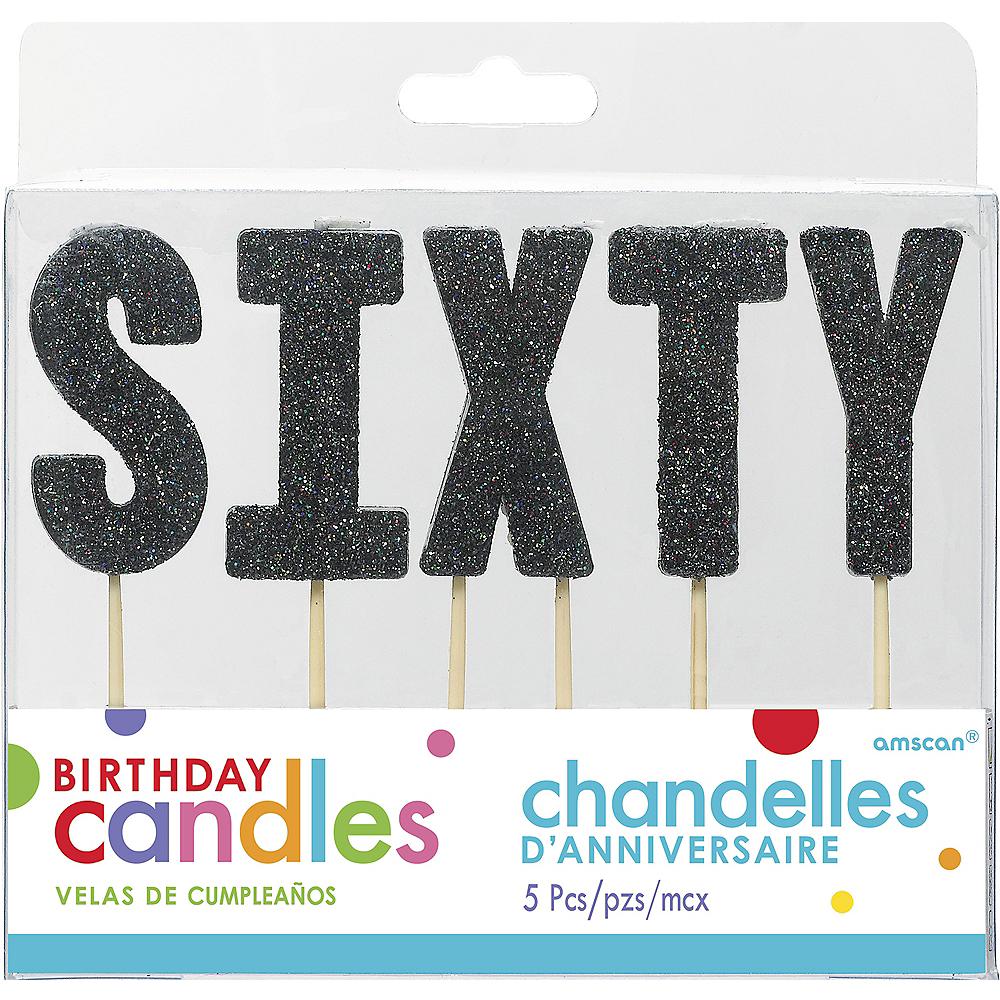 Glitter Black Sixty Birthday Toothpick Candle Set 5pc Image #1