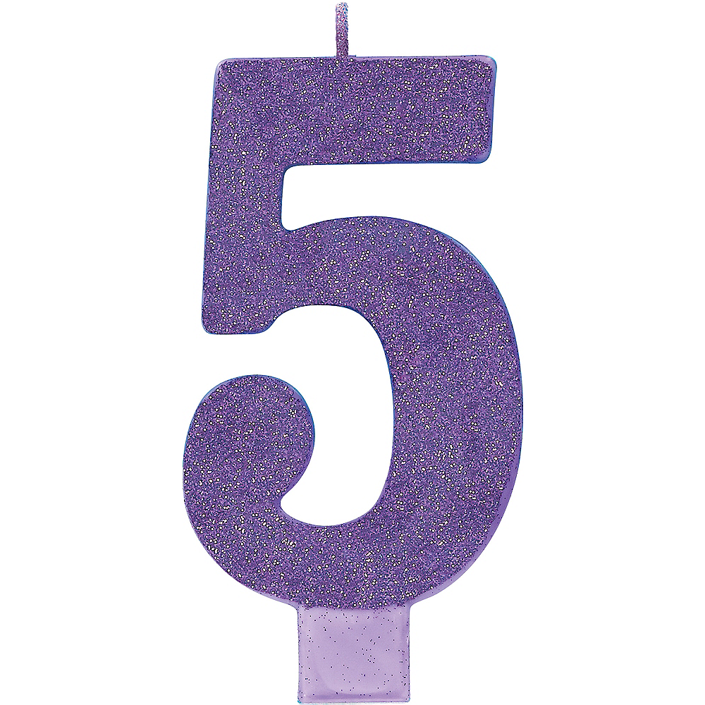 Giant Glitter Purple Number 5 Birthday Candle Image 1