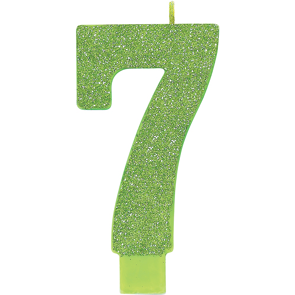 Giant Glitter Kiwi Green Number 7 Birthday Candle Image 1