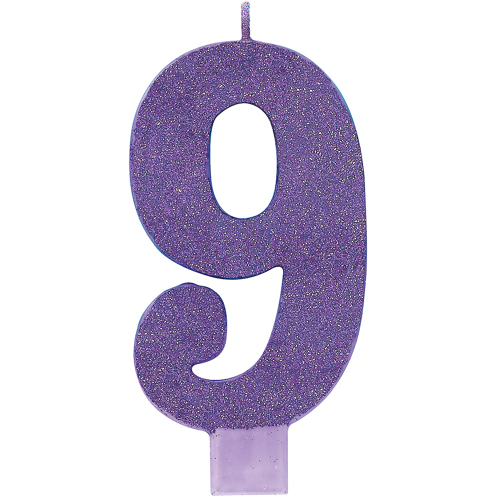 Giant Glitter Purple Number 9 Birthday Candle Image #1