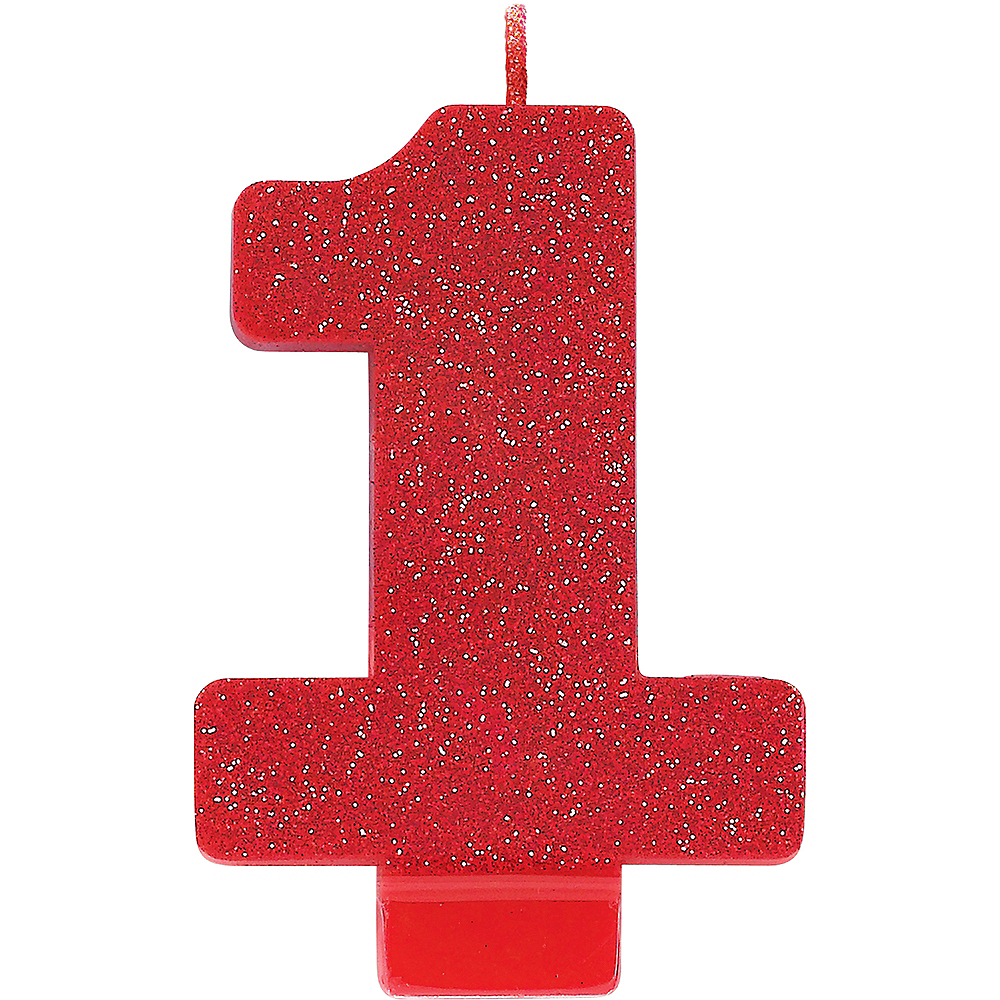 Glitter Red Number 1 Birthday Candle Image #1