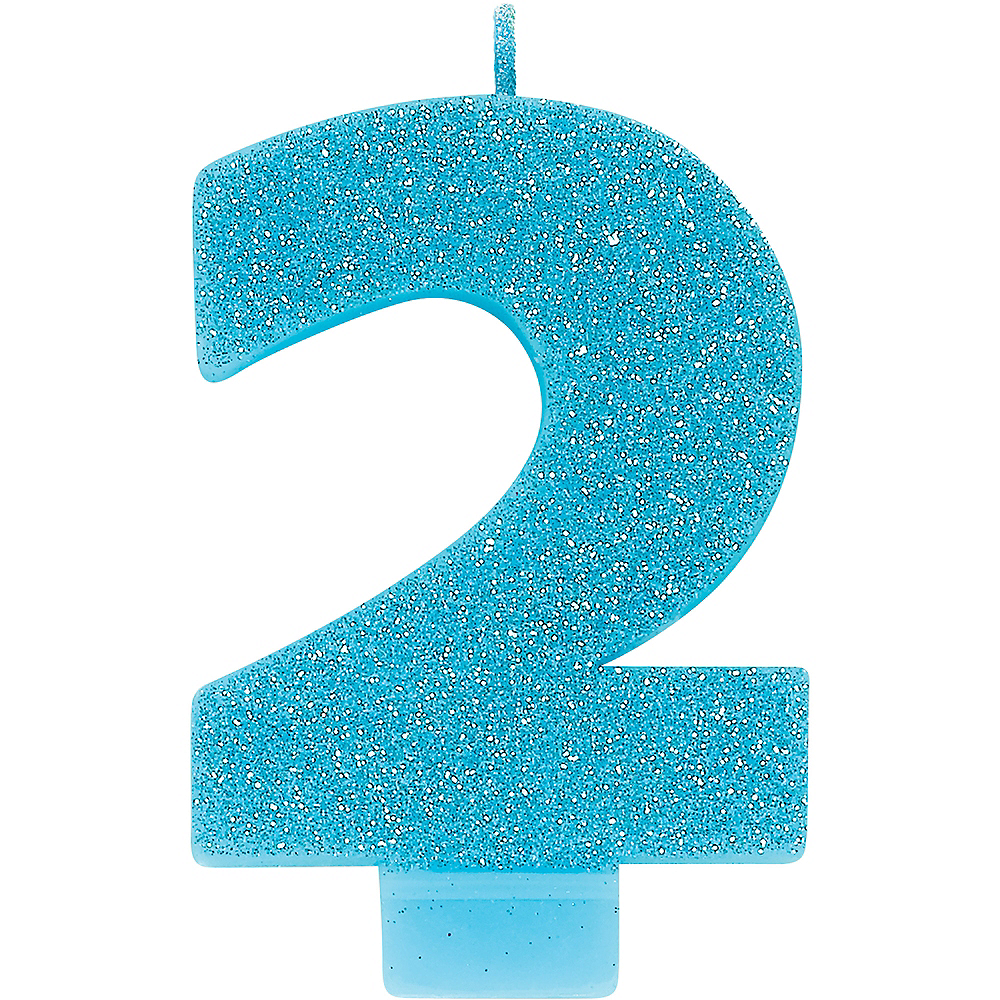 Glitter Caribbean Blue Number 2 Birthday Candle Image #1