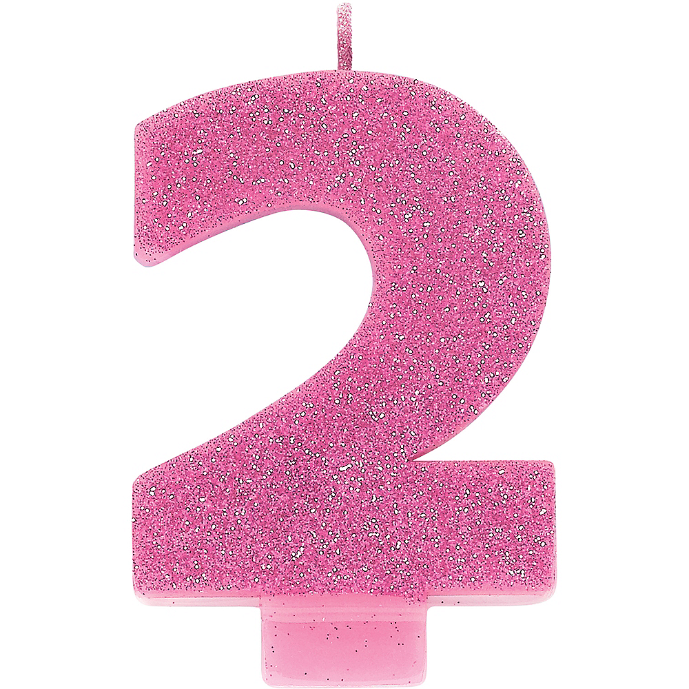 Glitter Pink Number 2 Birthday Candle Image 1