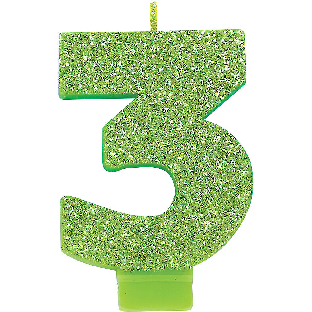 Glitter Kiwi Green Number 3 Birthday Candle