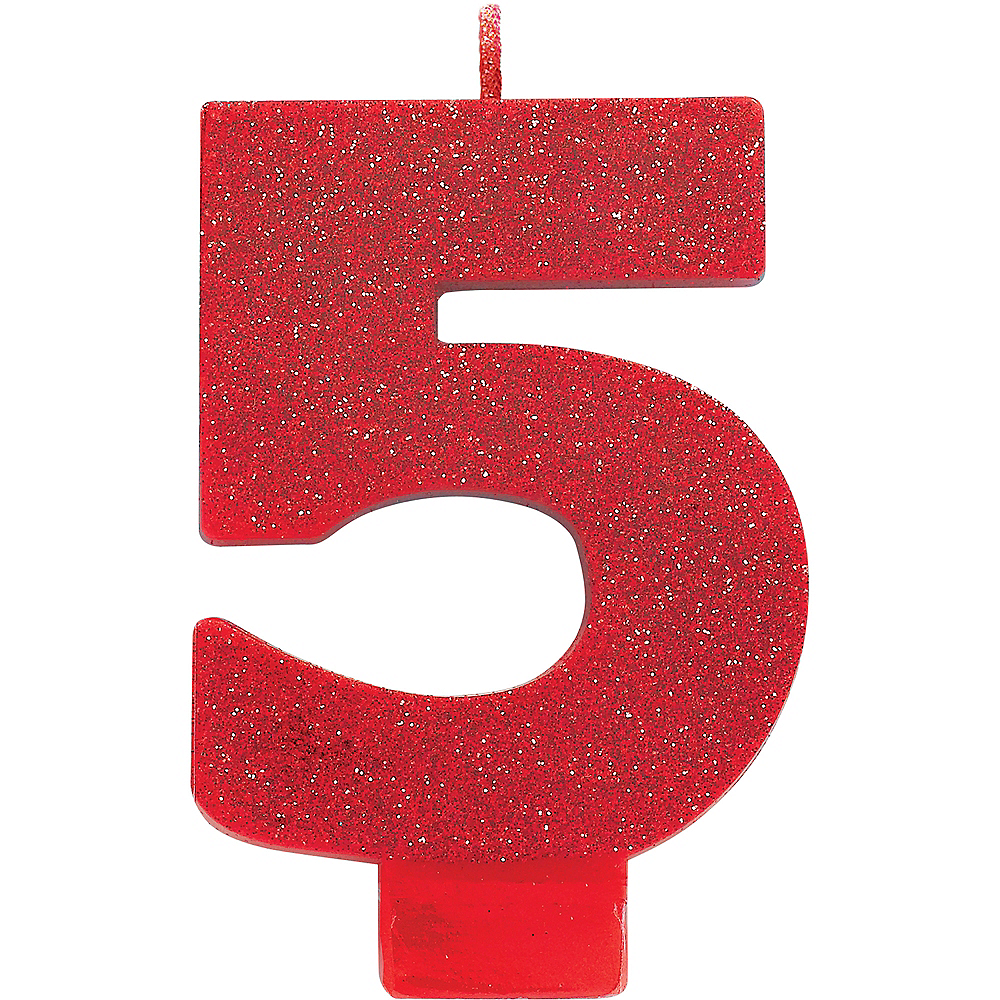 Glitter Red Number 5 Birthday Candle Image #1
