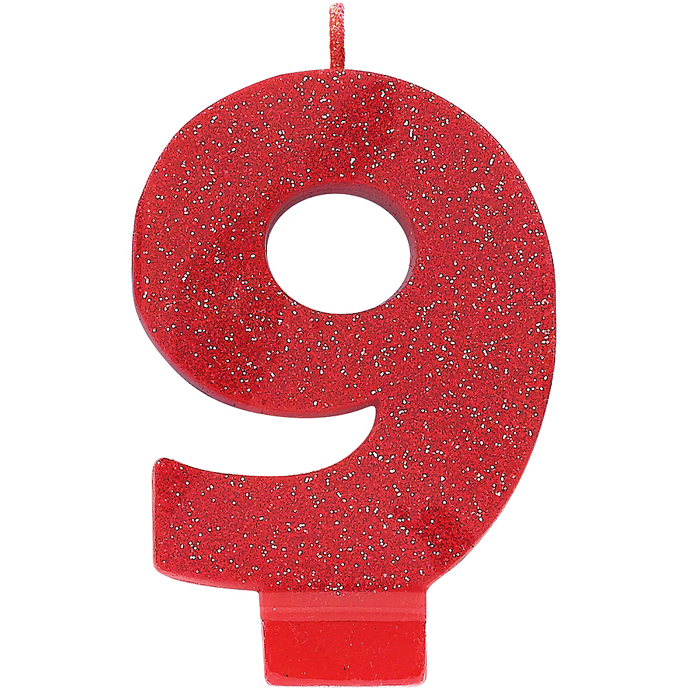Glitter Red Number 9 Birthday Candle Image #1