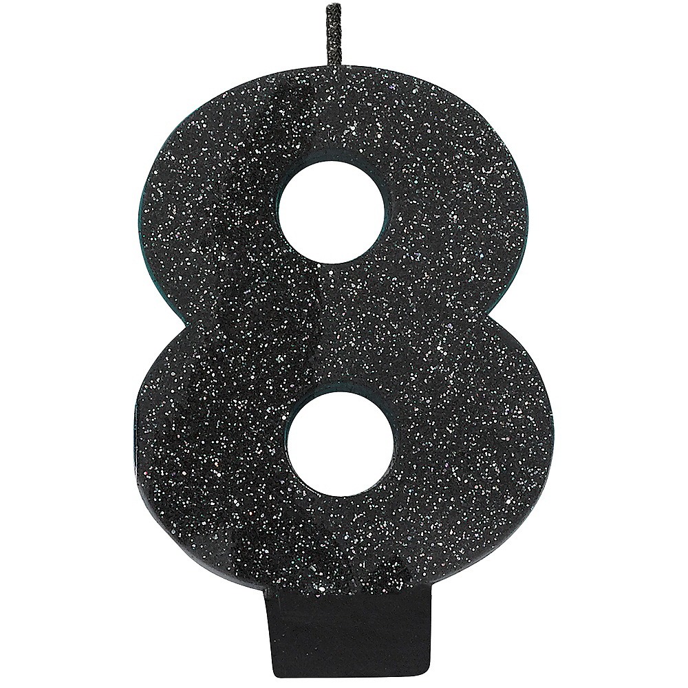 Glitter Black Number 8 Birthday Candle Image 1