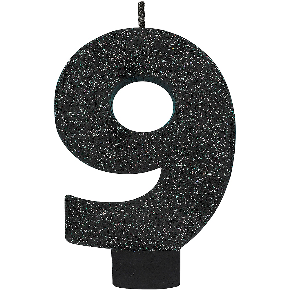Glitter Black Number 9 Birthday Candle Image 1