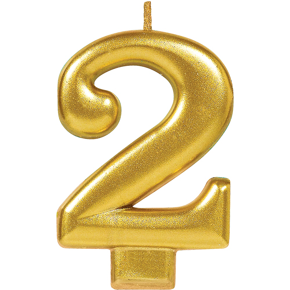 Gold Number 2 Birthday Candle Image 1