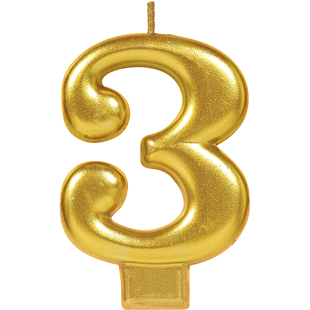 Gold Number 3 Birthday Candle Image #1