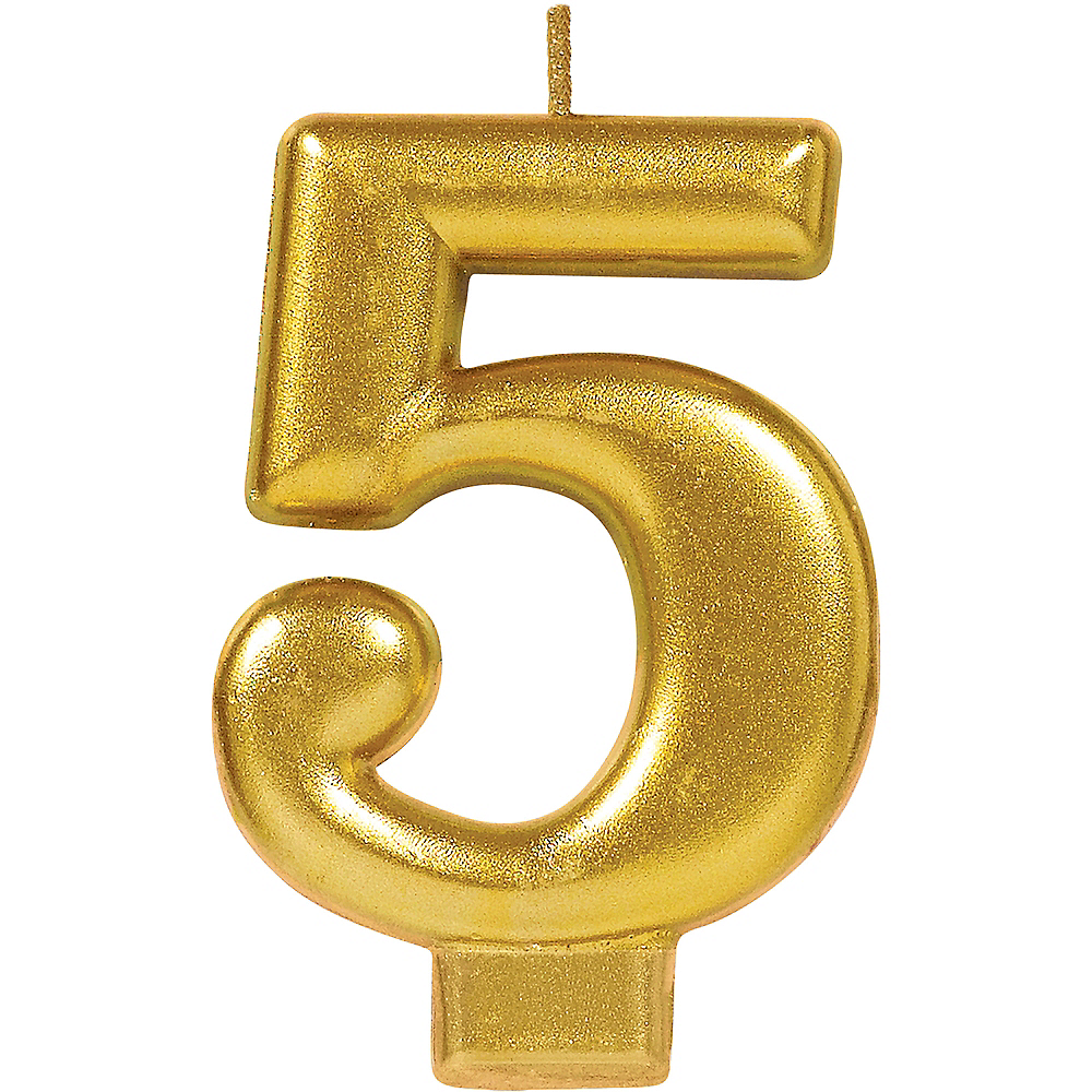 Gold Number 5 Birthday Candle Image 1