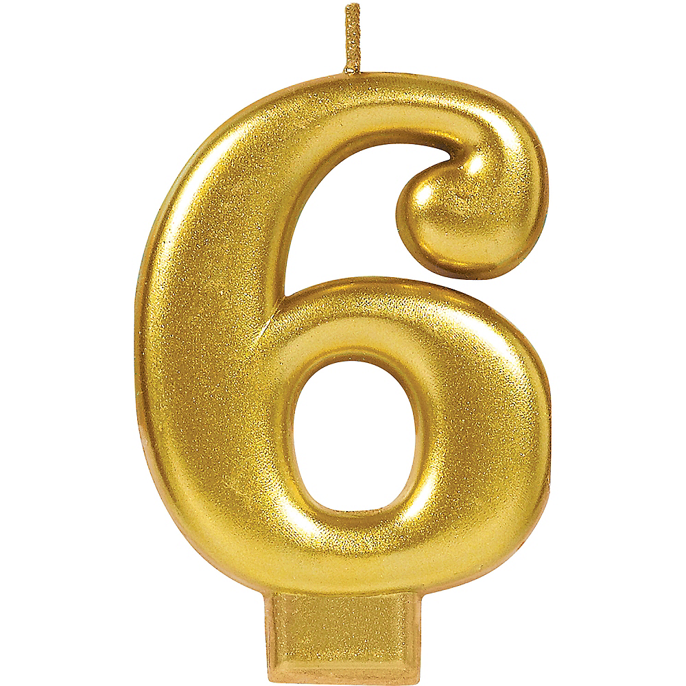 Gold Number 6 Birthday Candle Image #1