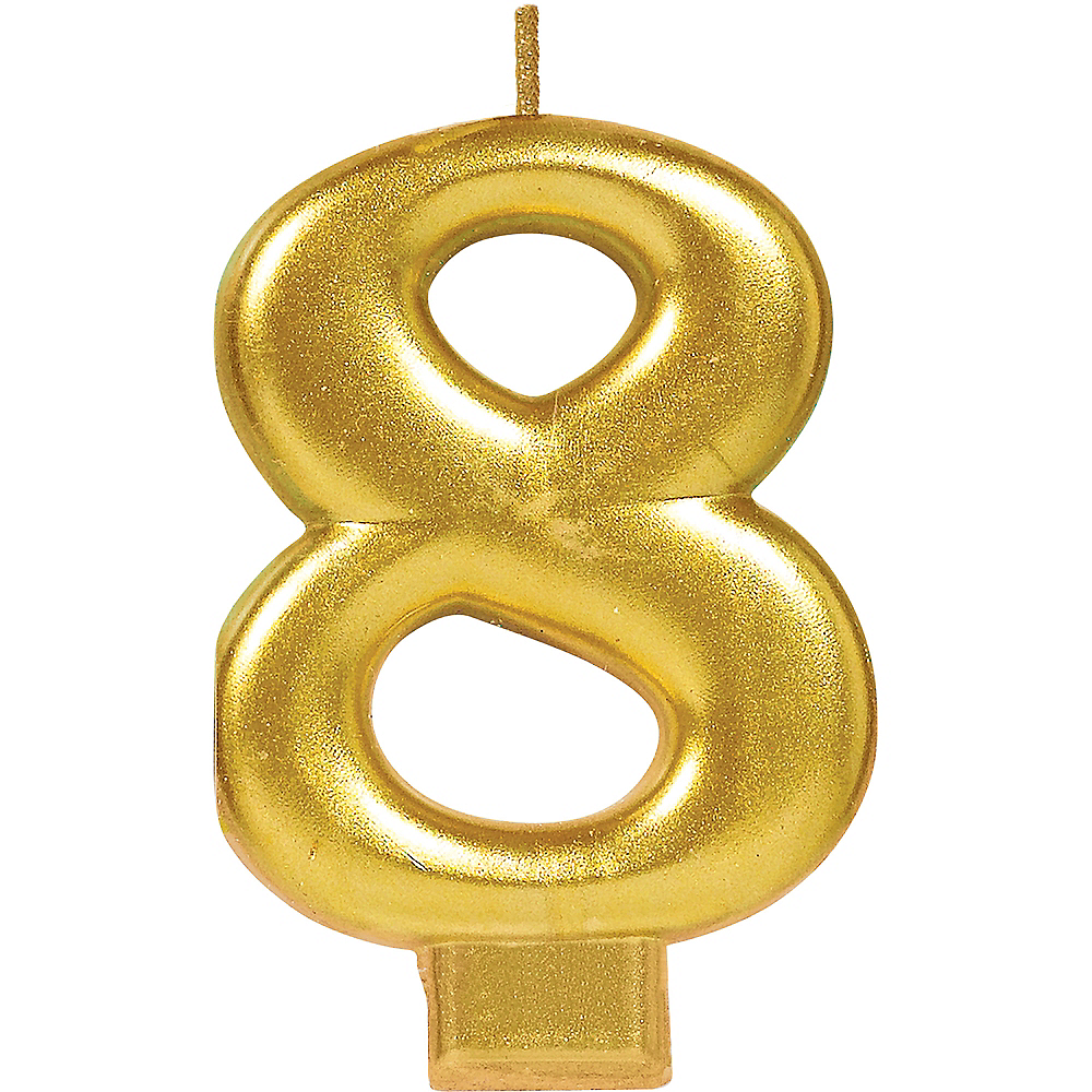 Gold Number 8 Birthday Candle Image #1