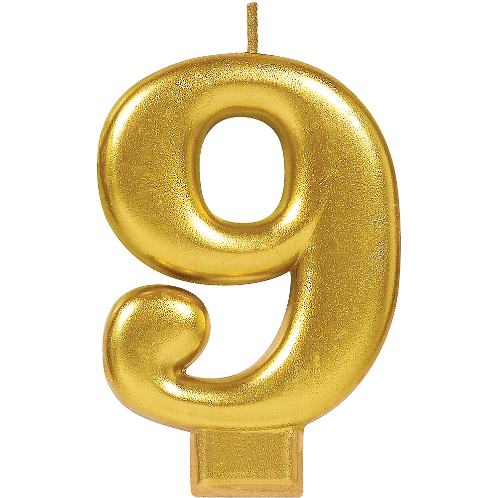 Gold Number 9 Birthday Candle Image #1