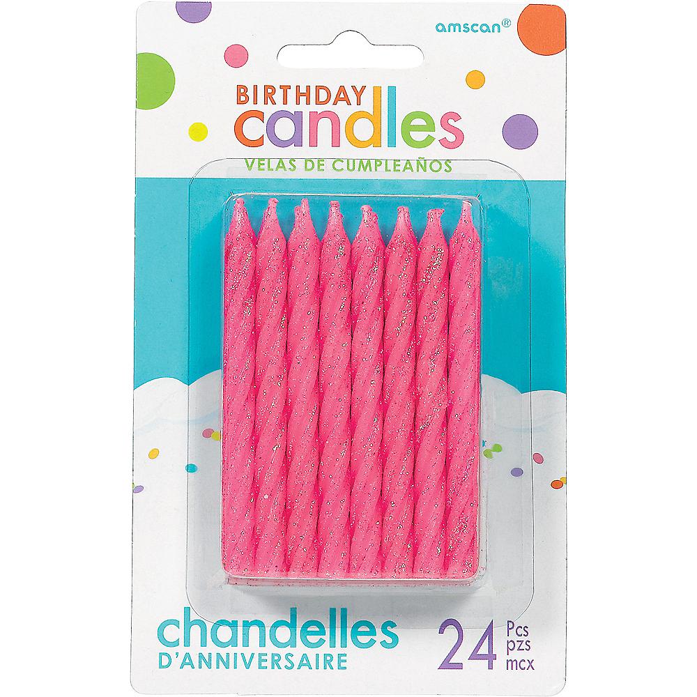 Glitter Pink Spiral Birthday Candles 24ct Image #1