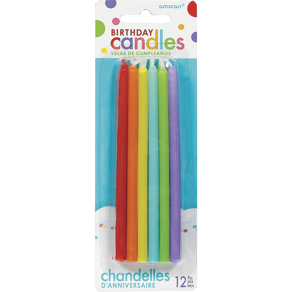 Tall Multicolor Birthday Candles 12ct Image #1