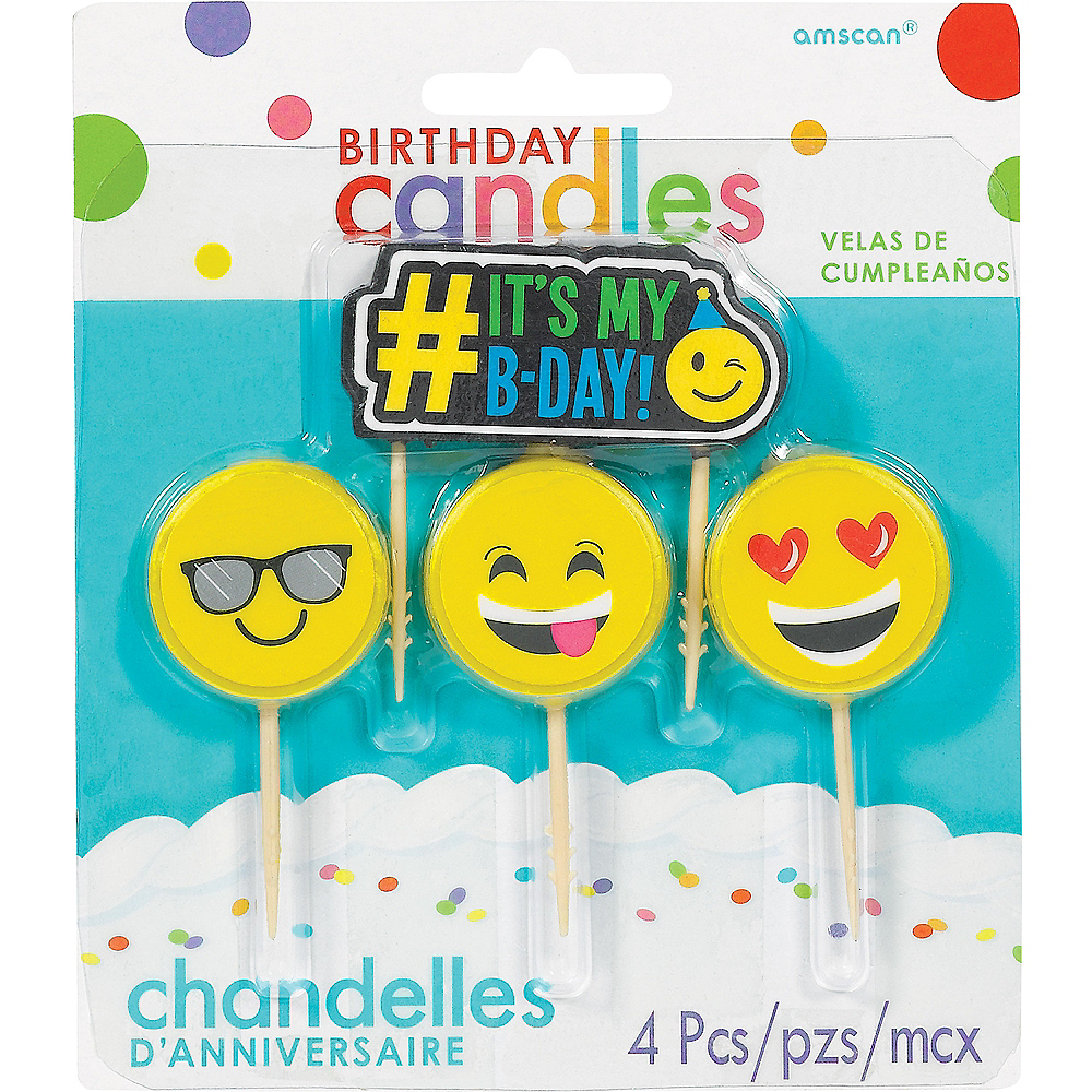 Smiley Birthday Toothpick Candles 4ct Image #1