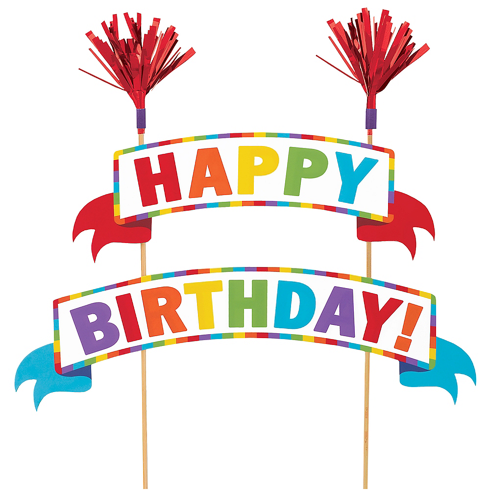 Multicolor Happy Birthday Banner Cake Topper Image 1