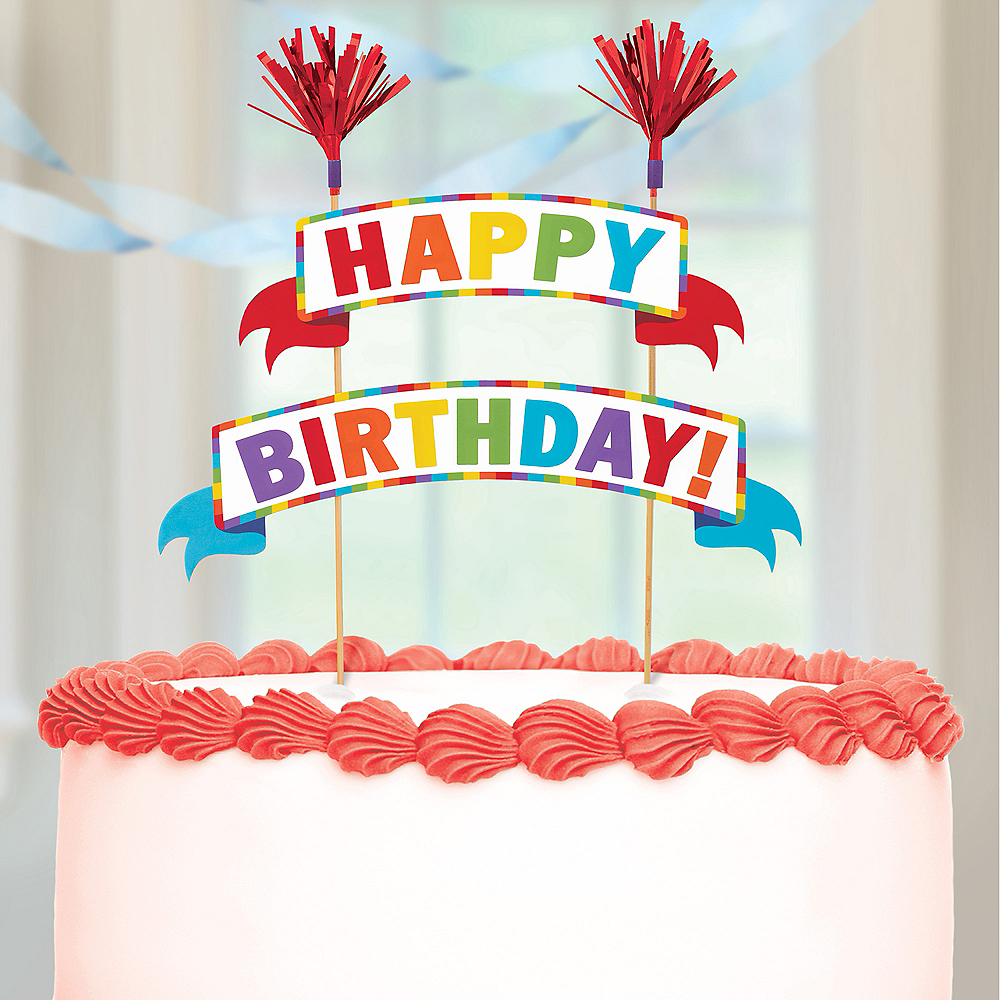 Multicolor Happy Birthday Banner Cake Topper 9in x 10in | Party City