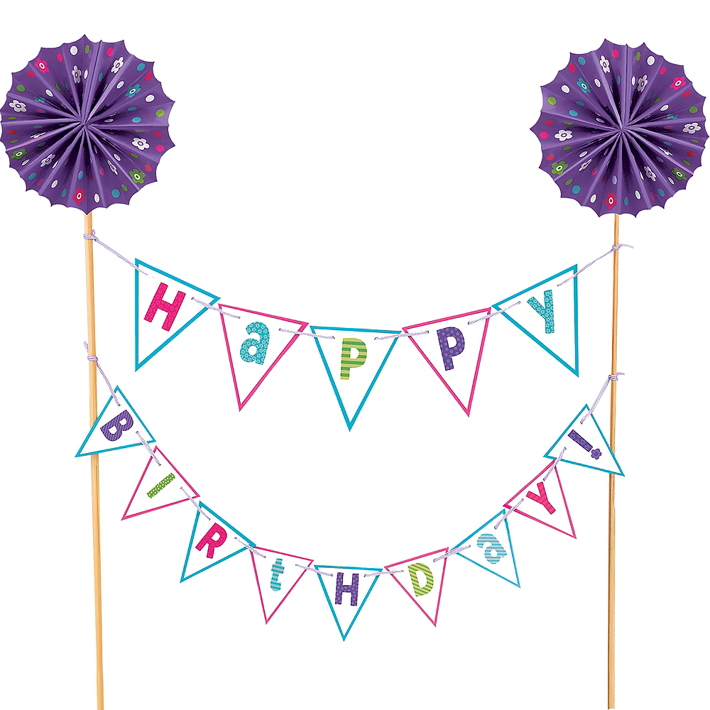 happy birthday pennant banner cake topper 11 1 2in x 9 1 2in party