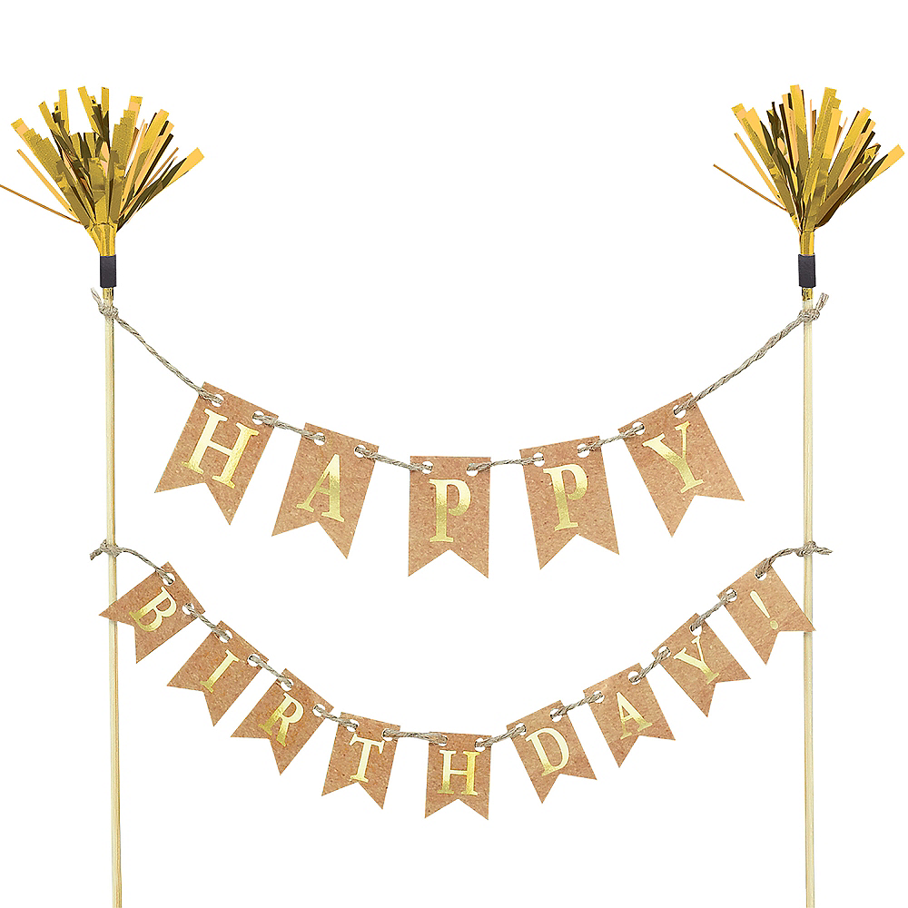 Gold Happy Birthday Pennant Banner Cake Topper Image 1