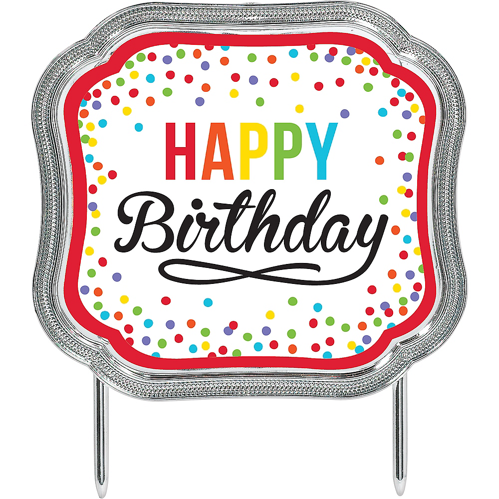 Awe Inspiring Multicolor Happy Birthday Cake Topper 4 3 4In X 4 1 4In Party City Funny Birthday Cards Online Alyptdamsfinfo