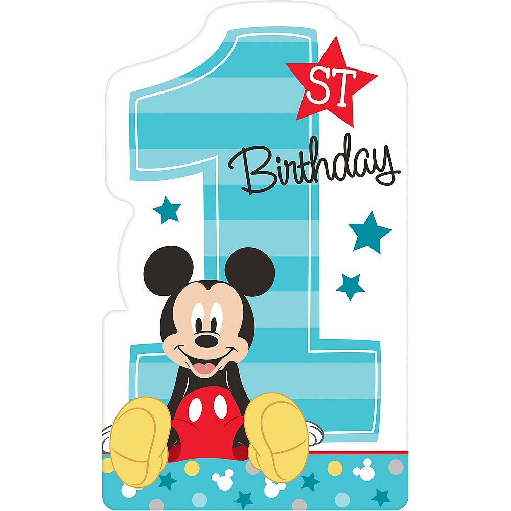 1st Birthday Mickey Mouse Invitations 8ct Image #1