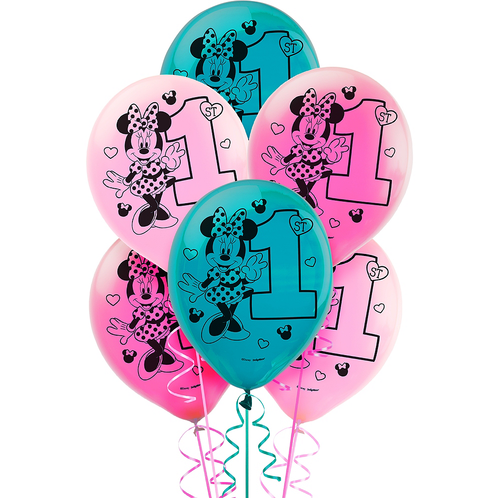 1st Birthday Minnie Mouse Balloons 15ct Image #1