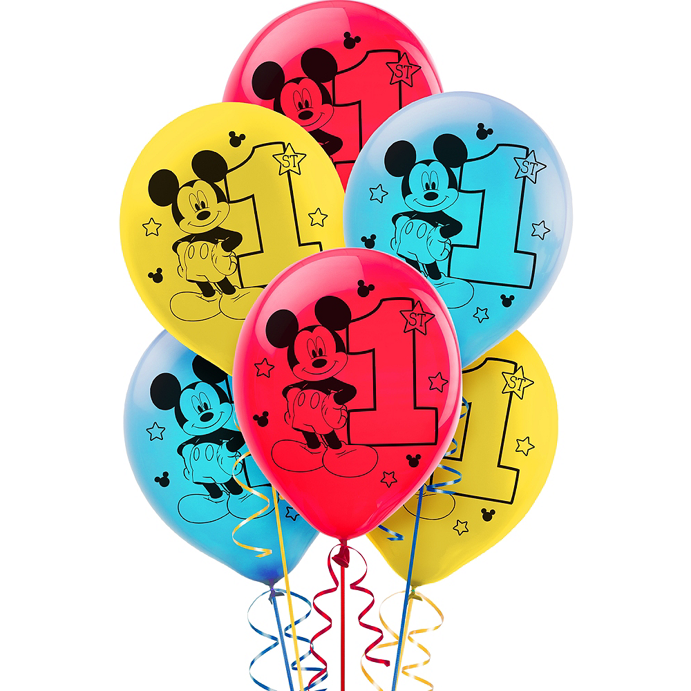 1st Birthday Mickey Mouse Balloons 15ct Image #1
