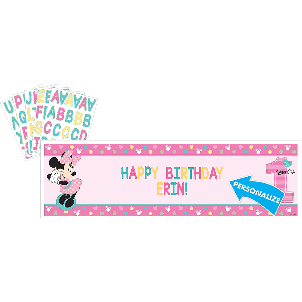 Giant 1st Birthday Minnie Mouse Personalized Banner Kit 65in x 20in ...