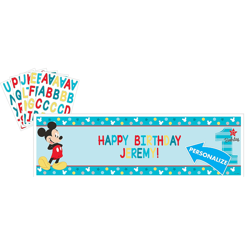 Giant 1st Birthday Mickey Mouse Personalized Banner Kit Image #1
