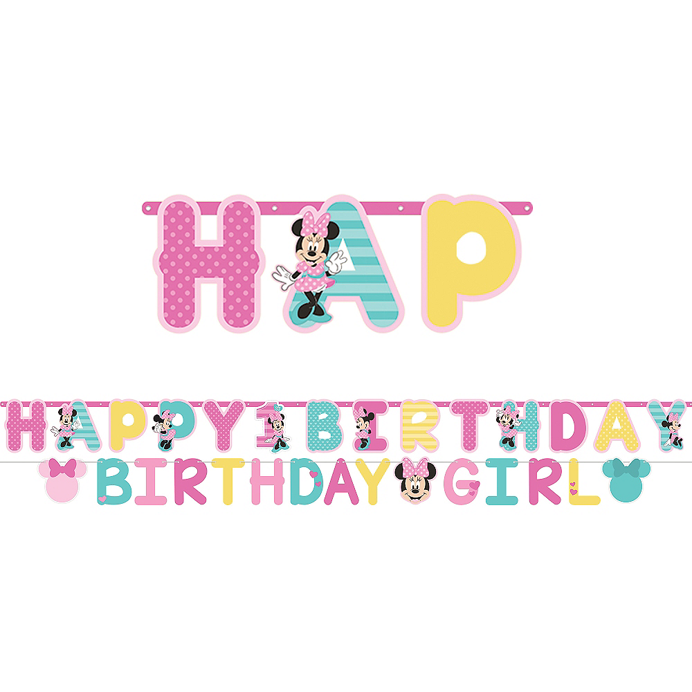 1st Birthday Minnie Mouse Letter Banner Kit 2pc Image 1