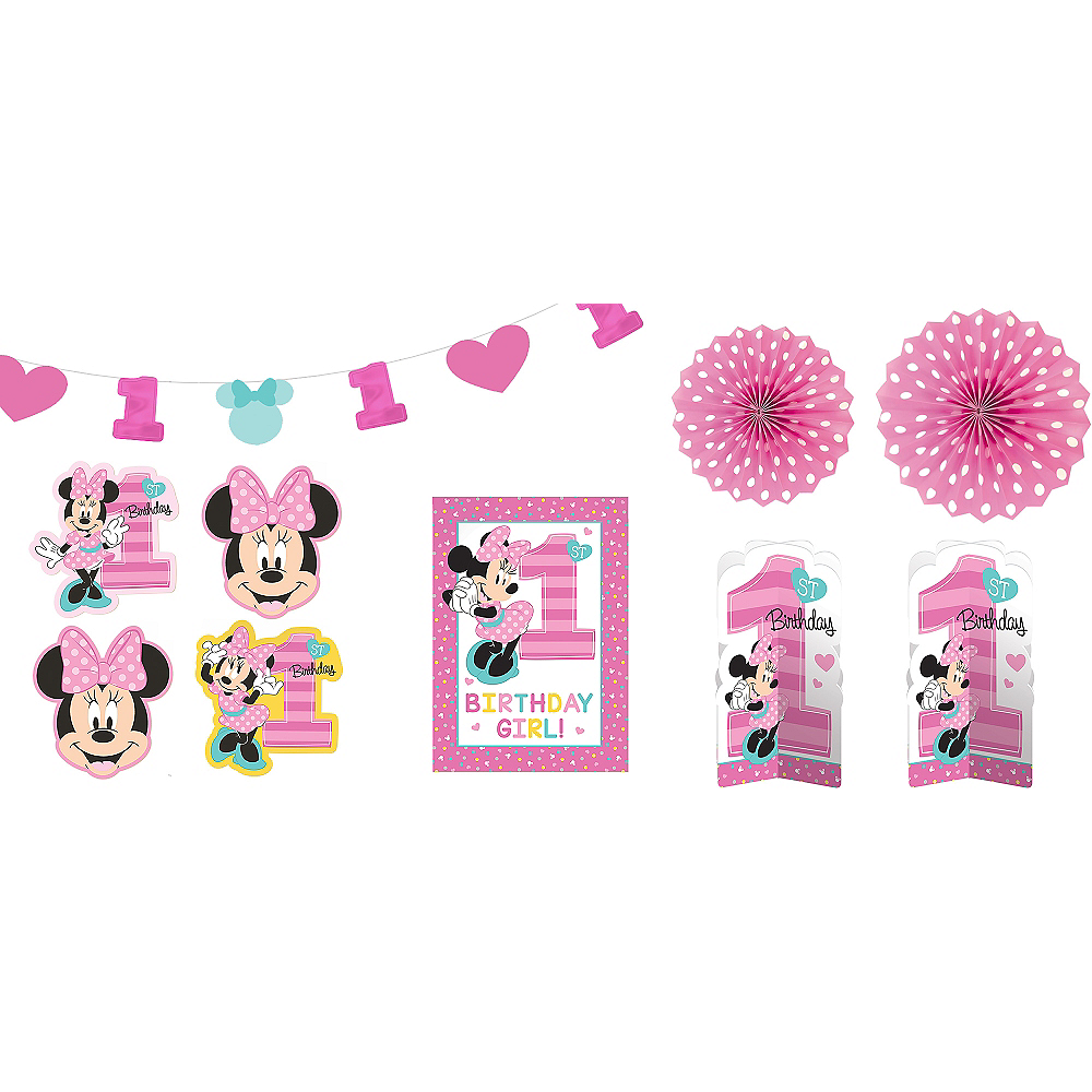 1st Birthday Minnie Mouse Room Decorating Kit 10pc Image 1