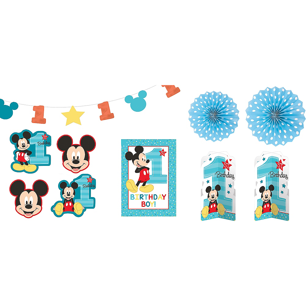 1st Birthday Mickey Mouse Room Decorating Kit 10pc Image #1