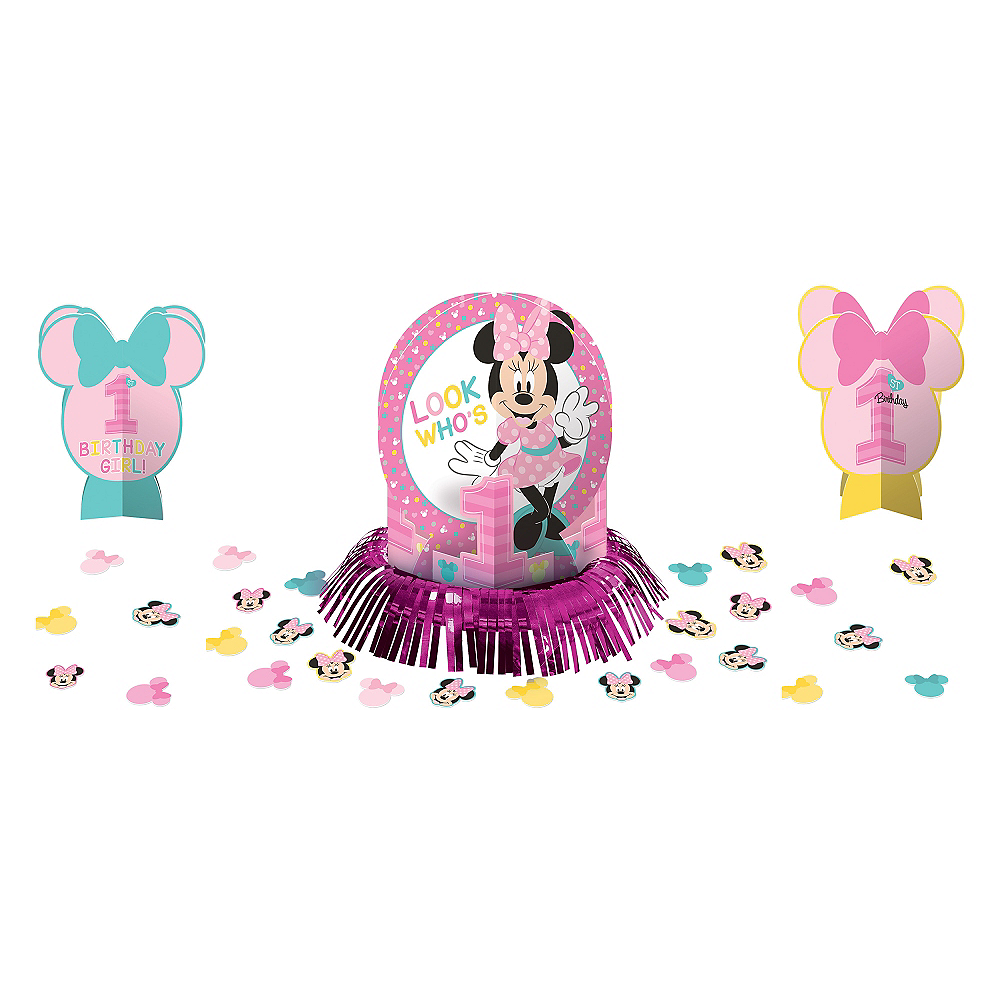 Sensational 1St Birthday Minnie Mouse Table Decorating Kit 23Pc Best Image Libraries Sapebelowcountryjoecom